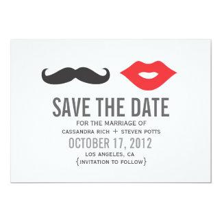 "Mustache & Lips Save The Date Card 5"" X 7"" Invitation Card"