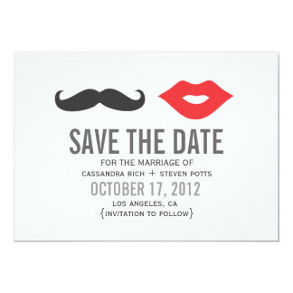 Mustache & Lips Save The Date Card Custom Announcement