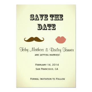 "Mustache & Lips Save-the-date 5"" X 7"" Invitation Card"