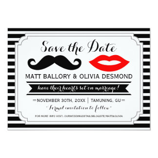 Mustache & Lips Save the Date Custom Announcements