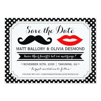 Mustache & Lips Save the Date Personalized Invitation