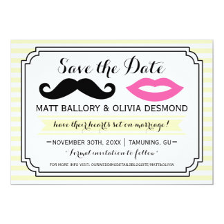 Mustache & Lips Save the Date Custom Invitations