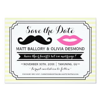 Mustache & Lips Save the Date Invitations