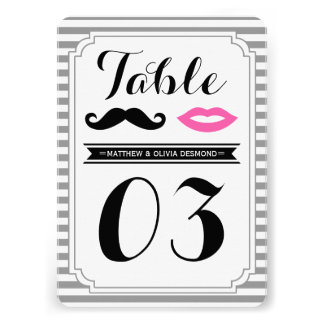 Mustache & Lips Table Numbers Invitations