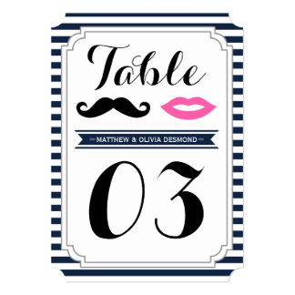Mustache & Lips Table Numbers Invitation