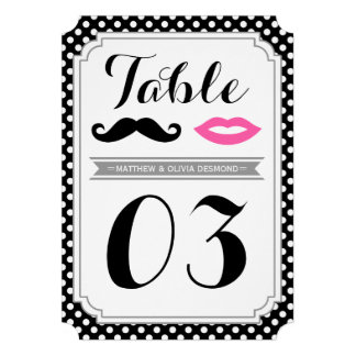 Mustache & Lips Table Numbers Personalized Invitations