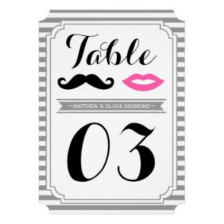 Mustache & Lips Table Numbers Custom Invitation
