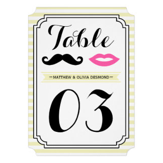 Mustache & Lips Table Numbers Personalized Invitation