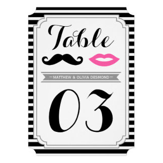 Mustache & Lips Table Numbers Personalized Announcement