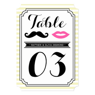 Mustache & Lips Table Numbers Custom Announcements