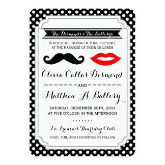 Mustache & Lips Wedding Invitations