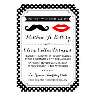 """Mustache & Lips Wedding Invitations 5"""" X 7"""" Invitation Card"""