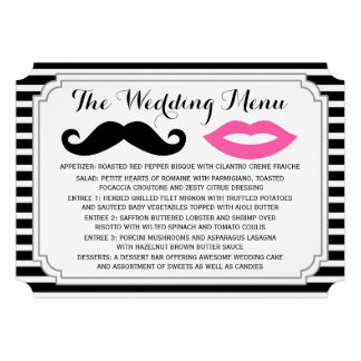 Mustache & Lips Wedding Menu Invitations