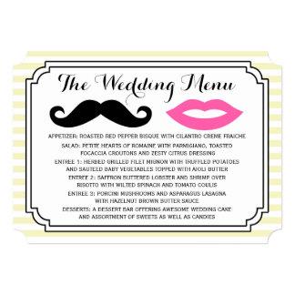 Mustache & Lips Wedding Menu Personalized Invitations
