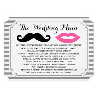 Mustache & Lips Wedding Menu Custom Announcement