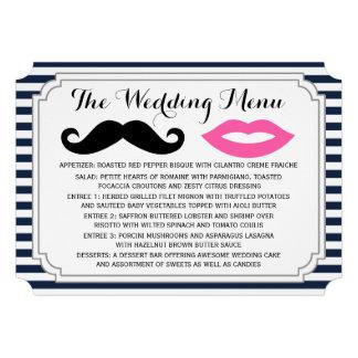Mustache & Lips Wedding Menu Invite