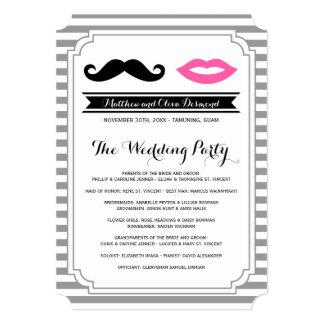 "Mustache & Lips Wedding Programs 5"" X 7"" Invitation Card"