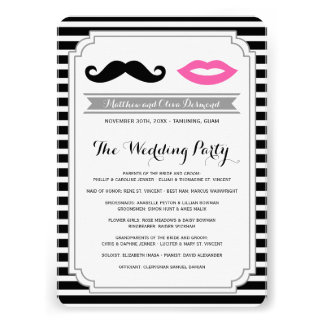 Mustache & Lips Wedding Programs Personalized Invites