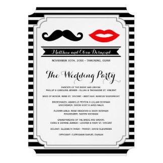 Mustache & Lips Wedding Programs Personalized Invitation