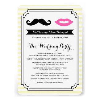 Mustache & Lips Wedding Programs Personalized Announcements