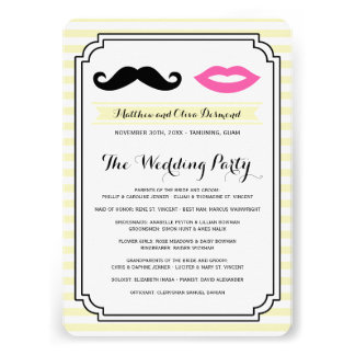 Mustache & Lips Wedding Programs Announcements