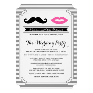Mustache & Lips Wedding Programs Personalized Announcement