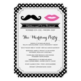 Mustache & Lips Wedding Programs Personalized Invite
