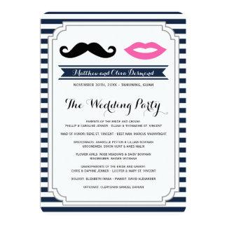 Mustache & Lips Wedding Programs Announcement