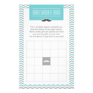 Mustache / Little Man Baby Shower Bingo Game Card Custom Stationery