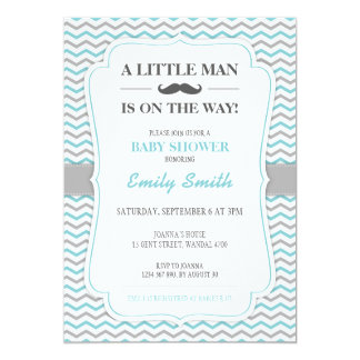 Mustache Little Man Baby Shower Invitation