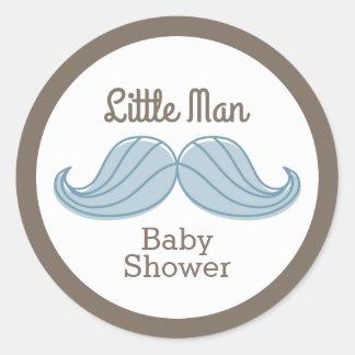 Mustache Little Man Round Sticker
