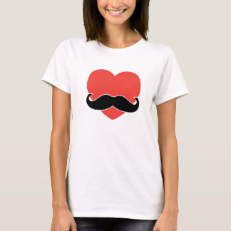 Mustache Love Heart Tee Shirt