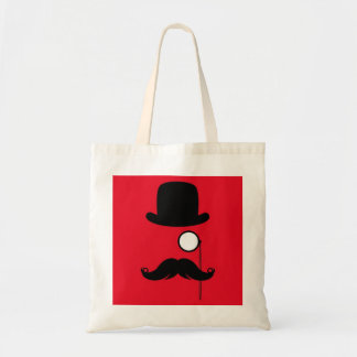 Mustache Man on Red Background Tote Bag