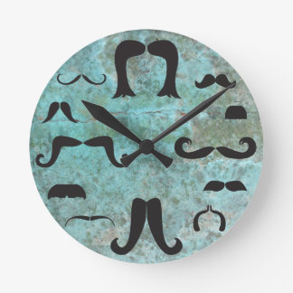 Mustache Mania Turquoise Wall Clock