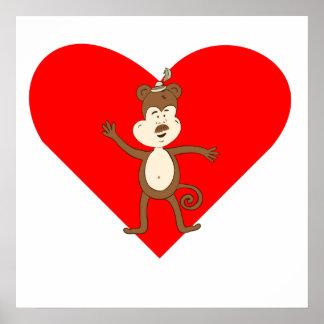 Mustache Monkey Heart Posters