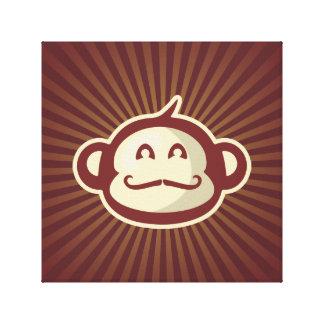 Mustache Monkey Red Canvas Print