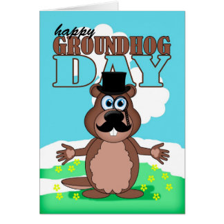 Mustache Moustache Groundhog Day With Cute Cartoon Greeting Card