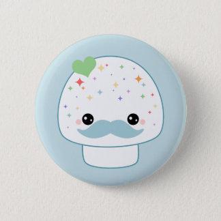 Mustache Mushroom 2 Inch Round Button