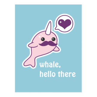 Mustache Narwhal Postcard