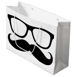 Mustache Nerd Black Graphic Large Gift Bag