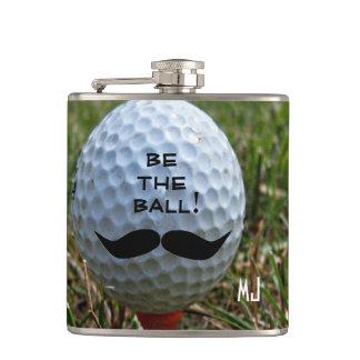 Mustache on Golf Ball- Hip Flask