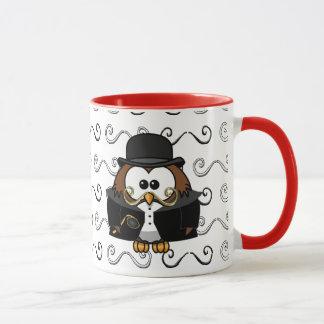 mustache owl mug