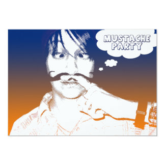 "mustache party : comic staches 5"" x 7"" invitation card"