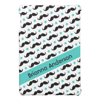 Mustache pattern aqua blue stars personalized cover for the iPad mini