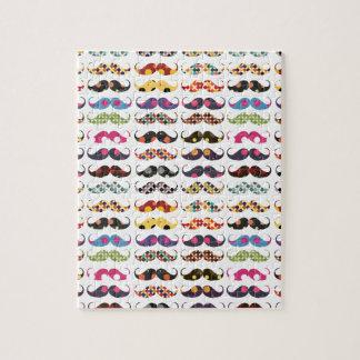 Mustache pattern is cute jigsaw puzzle