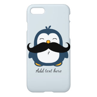 Mustache Penguin Custom Text iPhone 7 Case