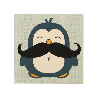 Mustache Penguin Wood Canvas