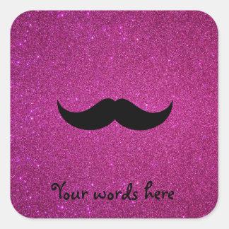 Mustache pink glitter square sticker