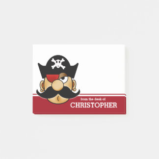 Mustache Pirate Personalized Post-it Notes