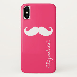 Mustache Plain Hot Pink Background Case-Mate iPhone Case